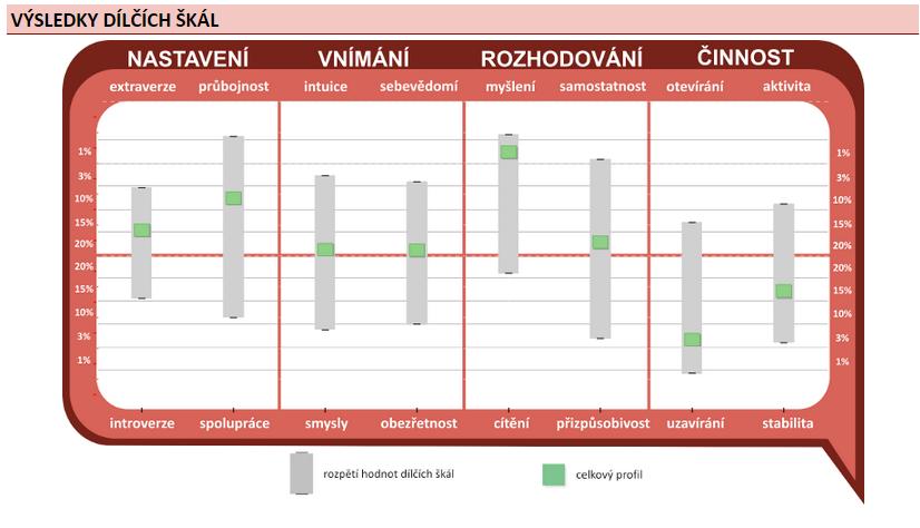 Osobnostní dotazníky nabízí kromě přehledného výstupu v podobě grafu rovněž obsáhlou textovou část zahrnující interpretaci celkového profilu