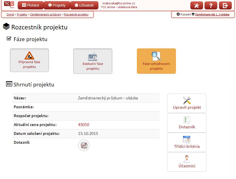 Ukázka online rozhraní