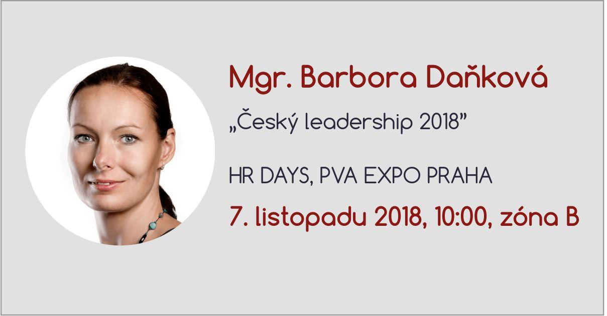Bára Daňková – přednáška na HR days, 7.11.2018, 10:00