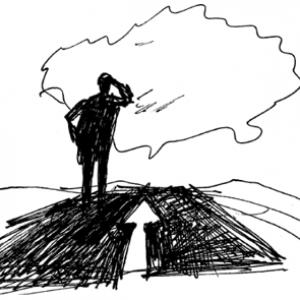 Muž na cestě_hledí do dáli