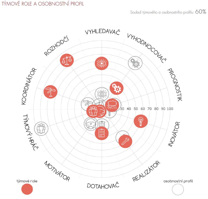 Graf: porovnání týmových rolí a osobnostních charakteristik